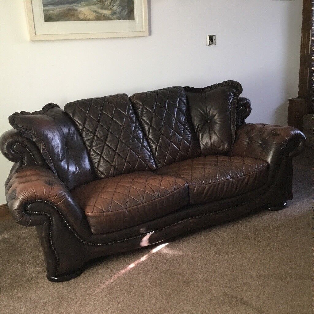 Real Leather 3 seater sofa and armchair