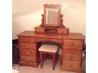 Dressing table, separate mirror and stool