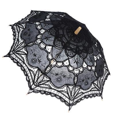 Bridal Black Lace Vintage Women Parasol Sun Umbrella Decoration Wedding Prop