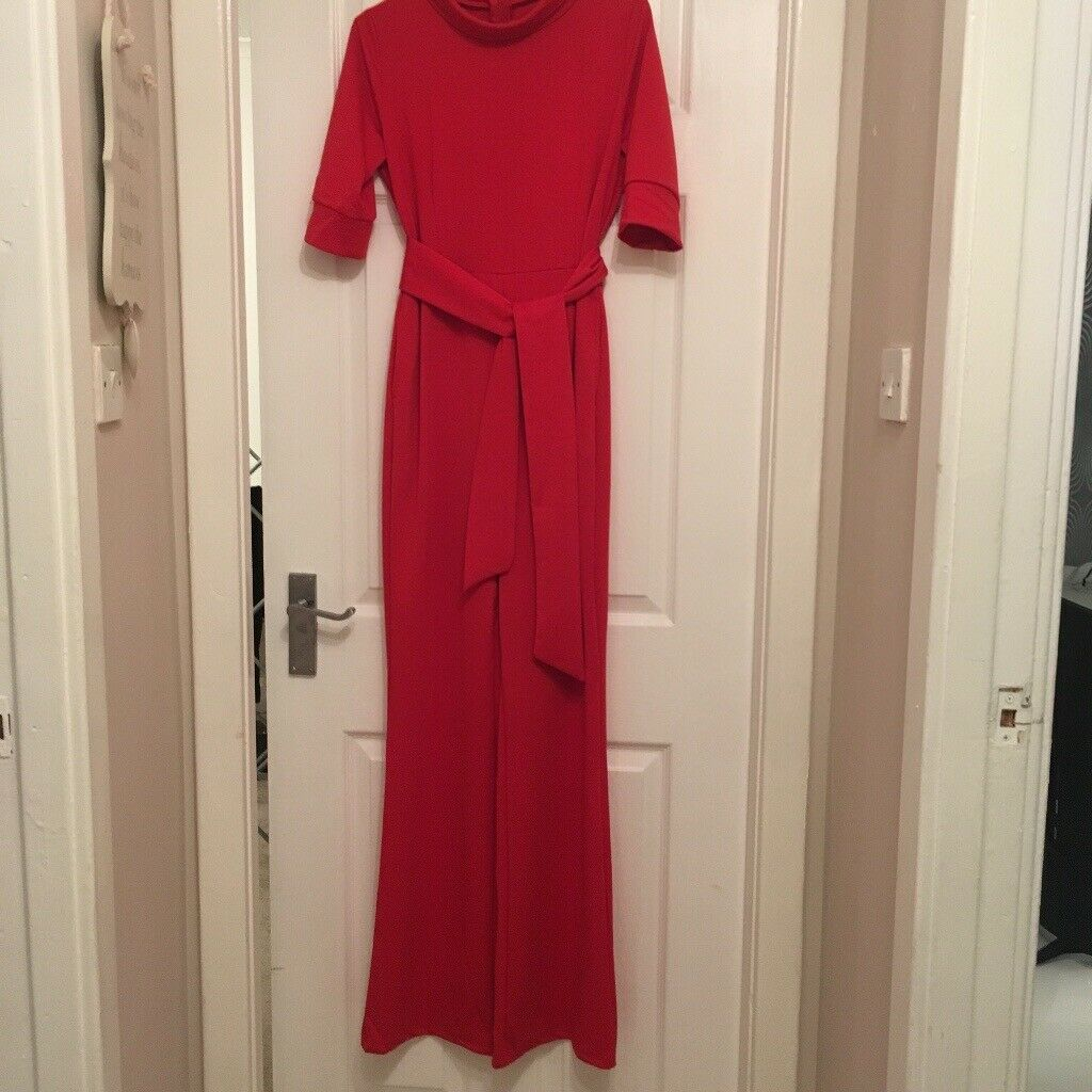31c883d6092 Ladies red jumpsuit with pockets