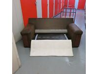 Sofa Bed/Brown partial leather & material.