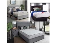 Kingsize fabric beds mattress headboard