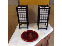 2 Vintage Japanese Lamps and a Beautiful Japanese Lacquered Plate (GREAT CONDITION)