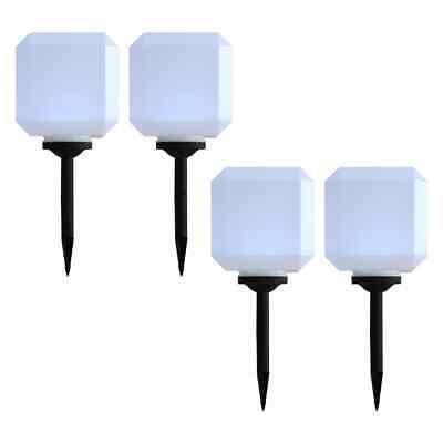 vidaXL 4x Outdoor Solar Lamps LED Cubic 20cm White Garden Patio Path Lights