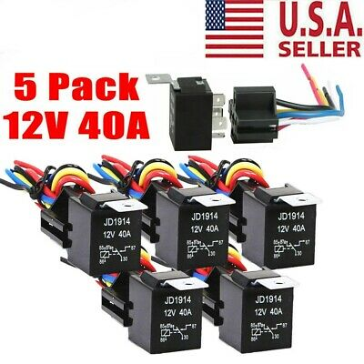 5pack 12v 3040 Amp 5-pin Spdt Automotive Relay W Wires Harness Socket Set Us