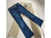 Designer Adriano Goldschmied Boot leg Jeans - Mid Wash and Beige Cord - Size 28R