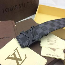 Black buckle matte chequered black squares very special style men's leather belt Versace boxed paper