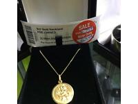 9ct Gold St Christopher pendant and necklace