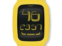 Yellow Swatch Watch with touch screen.