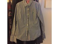 Smart Superdry blue and white striped shirt