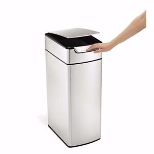simplehuman Slim Brushed Stainless Steel 40-Liter Touch Bar Trash Can *PickupOnly