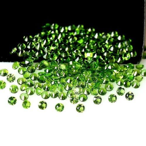 Wholesale Lot 2mm Round Facet Natural Chrome Diopside Loose Calibrated Gemstone
