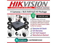 Hikvision HiWatch CCTV: 8CH Hikvision Turbo-HD Cube, 4x HiWatch 2MP 1080P Dome Cameras
