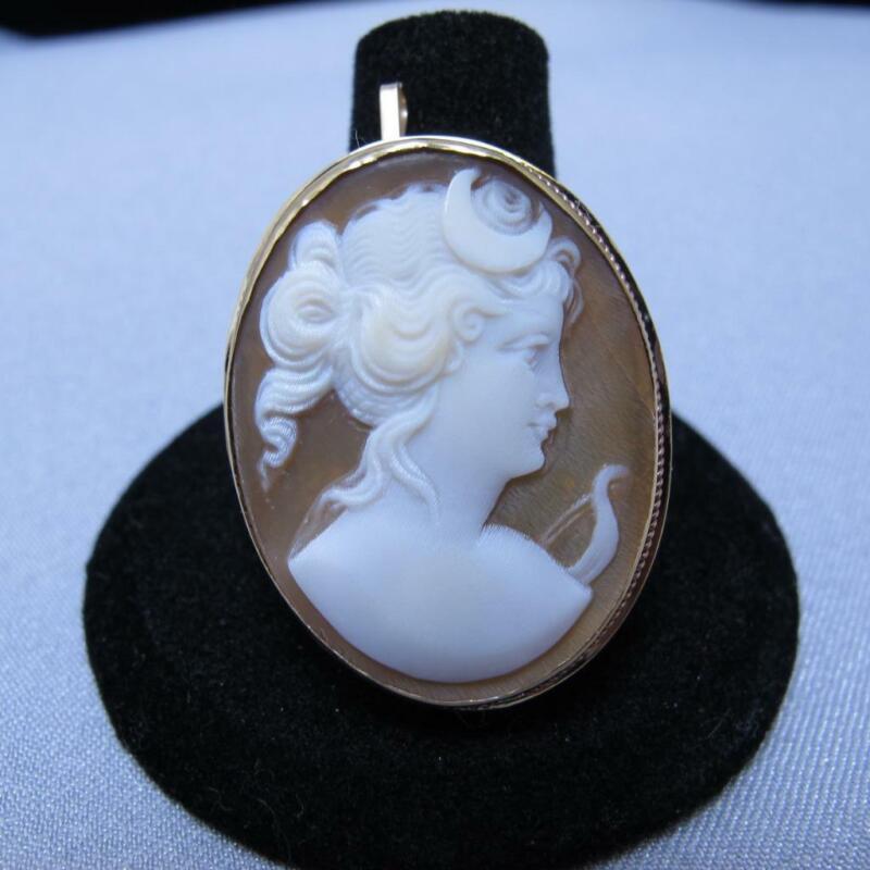 Vintage 14K Yellow Gold Goddess Artemis Diana Cameo Brooch Pendant 4.2g J618