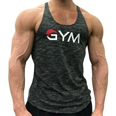 Mens Fitness Gym Tank Clothing Sleeveless Bodybuilding Sportwear Undershirt Vest