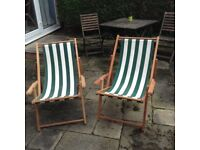 Traditional wooden deck chairs