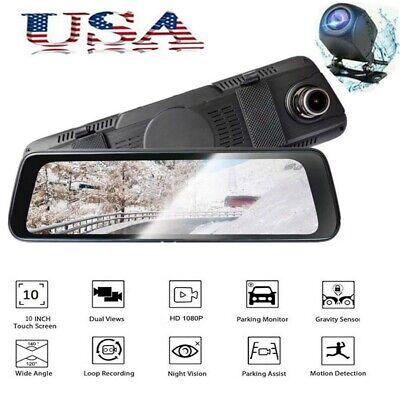 10 Dual Lens Camera HD 1080P Car DVR Vehicle Video Dash Cam Recorder G-Sensor