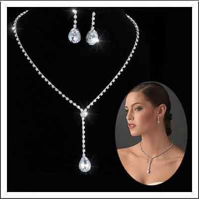 Alloy Silver Plated Drop CZ Necklace, Earrings Bridal Wedding Jewelry Set
