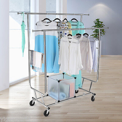 Commercial Double Rail Clothing Garment Rolling Collapsible Drying Rack Hanger
