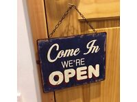 Retro Metal Dual Open Closed Shop Sign. Used but very good condition.