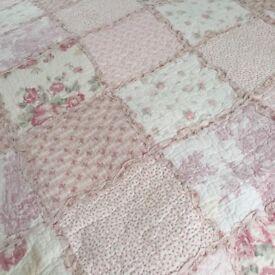 Forever England Kingsize Bedspread Pink , Cream & Sage Cream