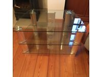 John Lewis glass TV stand with two shelves