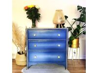 Chest of drawers, oak, blue ombre
