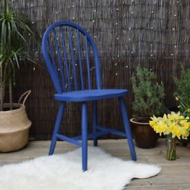 Blue Wooden Chair handpainted with chalk paint and waxed