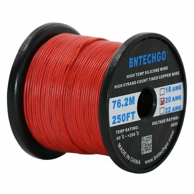 Bntechgo 20 Gauge Silicone Wire Spool Red 250 Feet Ultra Flexible High Temp 200