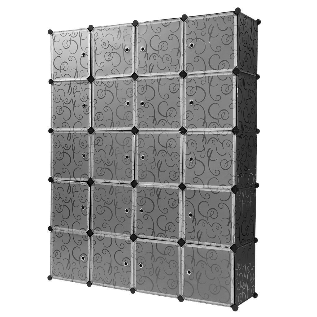 Mobile armadio 20 scomparti NERO Scaffale armadietto modulare scaffalatura
