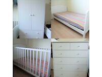 Baby Bedroom Set White Cot Toddler Bed Wardrobe Chest of Drawers Changing Table Book Case