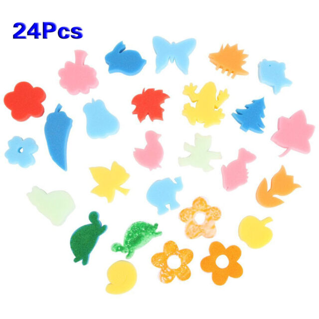 24pcs Different Shapes Children Crafting Painting Sponge Stamp HY