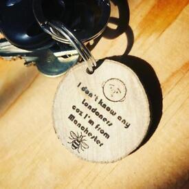 Karl Pilkington Wooden Key Rings
