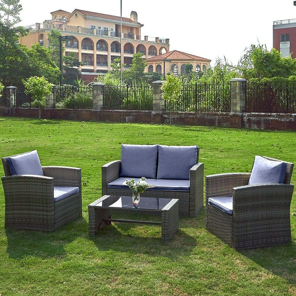 Garden Furniture - 4 Piece Rattan Garden Furniture Set Patio Sofa Table Chairs Beige/ Grey Cushions