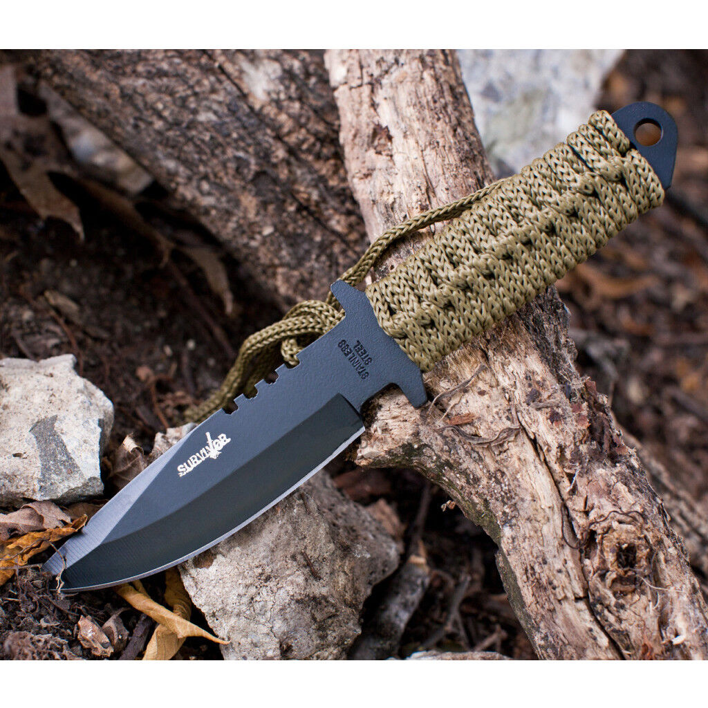 """7.5"""" TACTICAL COMBAT HUNTING FIXED BLADE BOWIE KNIFE Throwing Survival Military"""