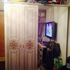 Cream wooden wardrobe, makeup table, mirror, 2x bedside tables