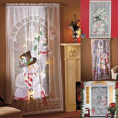 Snowman Christmas Decorations (Christmas Lace Curtains Santa Claus Snowman Curtains Panel LED Light Xmas)