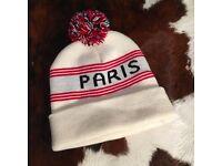 American apparel white winter beanie hat-Paris