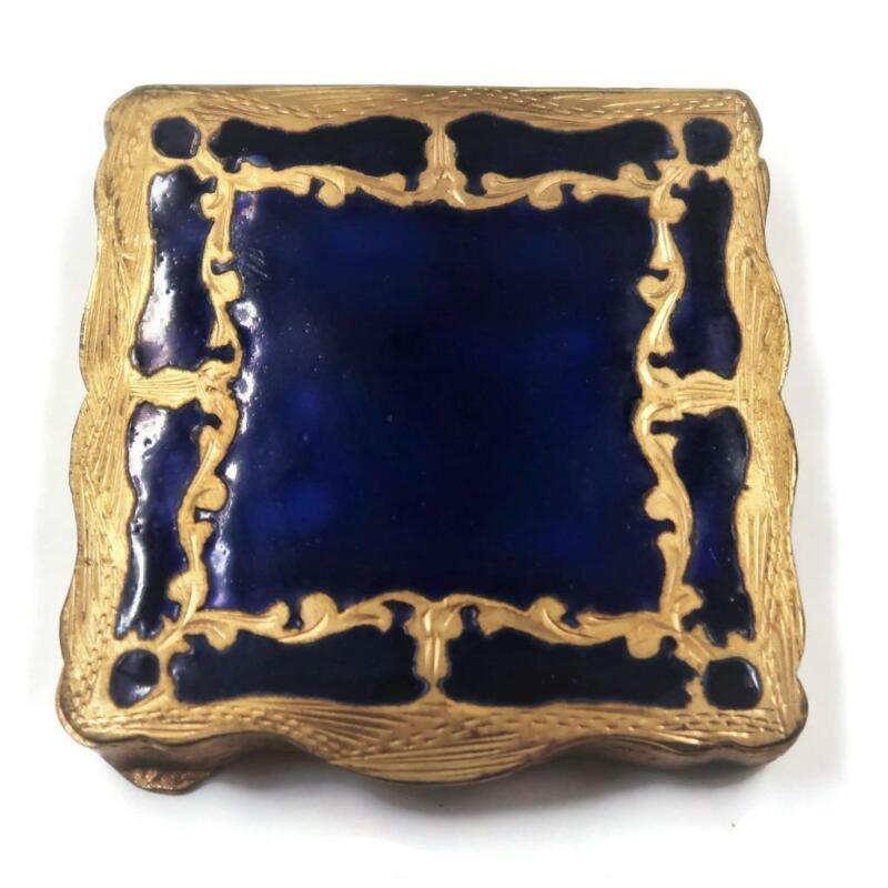 "Mid Century Italian Compact with Blue Guilloche Enamel & Mirror,  2 1/4"""