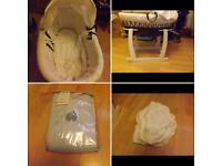 Wicker Moses basket and stand and bedding