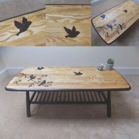 Handcrafted 'birds on a branch' design on upcycled natural ash and beech wood coffee table