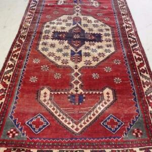 Shiraz Antique Persian Rug, Handmade Carpet, Wool, Orange, Blue, Green and Beige Size: 9.11 X 5.2 ft