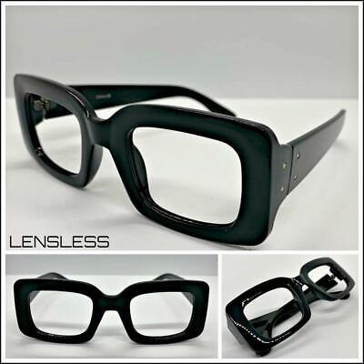 Classic RETRO Style Thick Square Black Lensless Eye Glasses Frame Only NO (Thick Square Glasses)