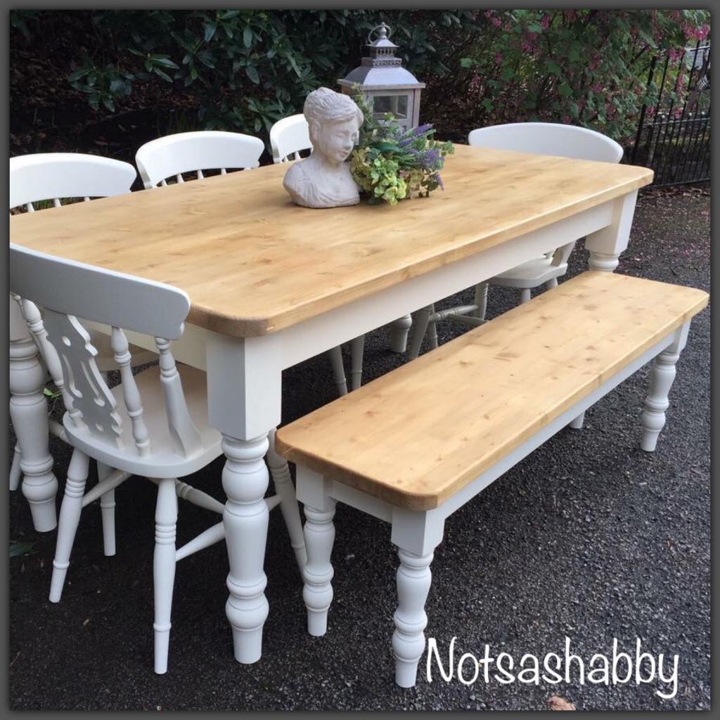 Pine Farmhouse Kitchen Table Beautiful New Handmade Pine Farmhouse Table Bench And Chairs In