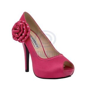 NEW-Ladies-Pink-Satin-Open-Toe-Pump-Platform-Party-High-Heels-Sexy-Shoes-AU-Size
