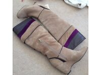 Ladies boots - Italian made knee high wedge boots in beige & purple suede with brown leather size 4