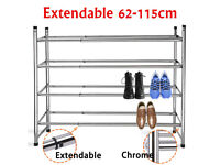Stackable and extendable shoe rack. CHROME SHOE RACK Sliding Extendable Shelving. ONLY £5