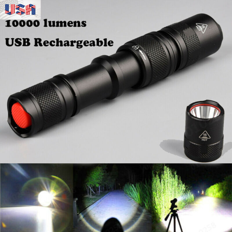 10000 Lumens LED USB Rechargeable T6 Outdoor Camping Tactica