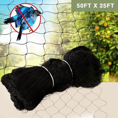 "25x50FT Anti Bird Netting Garden Poultry Aviary Game Net Nylon 2.4"" Mesh Screen"