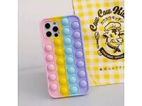 Fidget Push Pop it Bubble Phone Cover For iPhone 7/8 11/12 Sensory Fidget Silicone Case